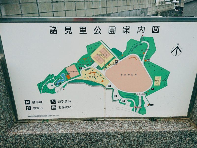 沖縄市園田の諸見里公園マップ