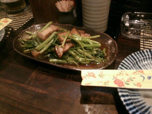 沖縄市胡屋うちなー料理風車(かじまやー)のうんちぇーばー(空芯菜)炒め