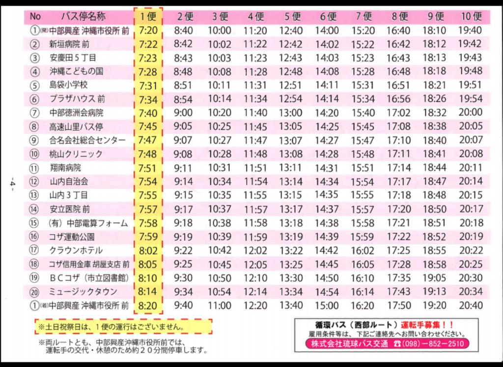 沖縄市循環バスの時刻表(西部ルート)