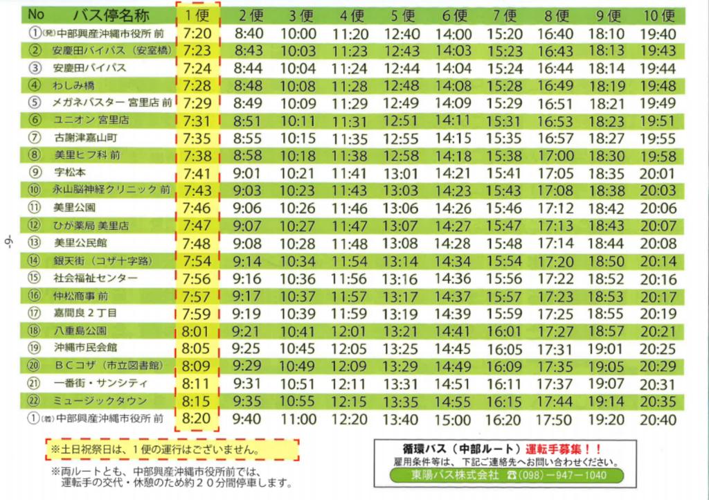 沖縄市循環バスの時刻表(中部ルート)