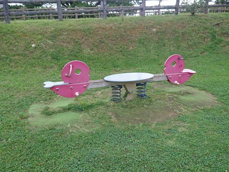 沖縄市諸見里コザ運動公園アスレチック広場のシーソー