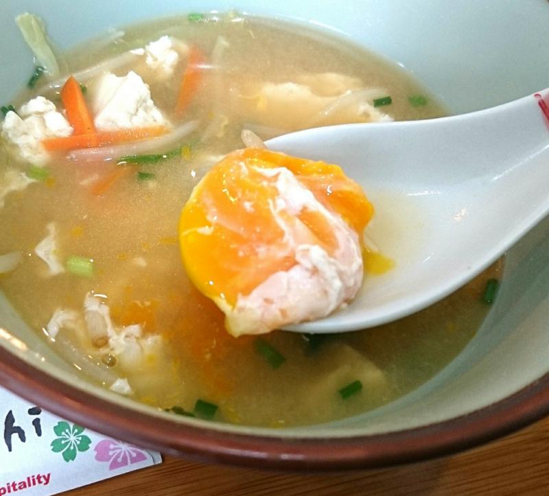 沖縄市食楽屋おはなの味噌汁の卵
