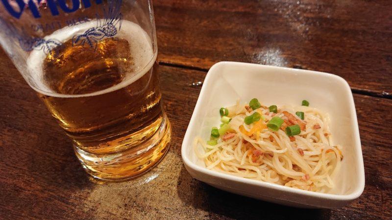 かみさん沖縄市銀天街のビール、そーめんちゃんぷるー