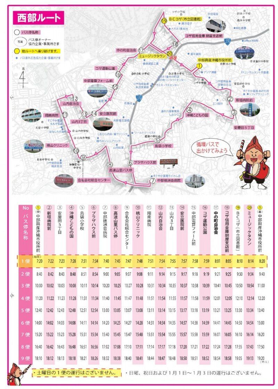 沖縄市循環バスの路線図(西部ルート)